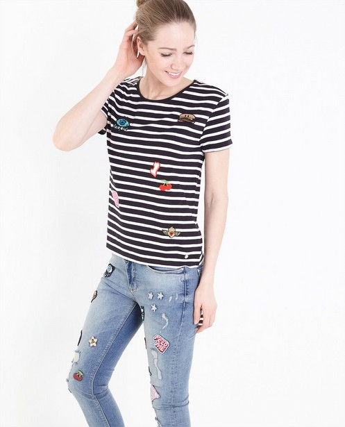 Gestreept T-shirt met patches - null - Groggy
