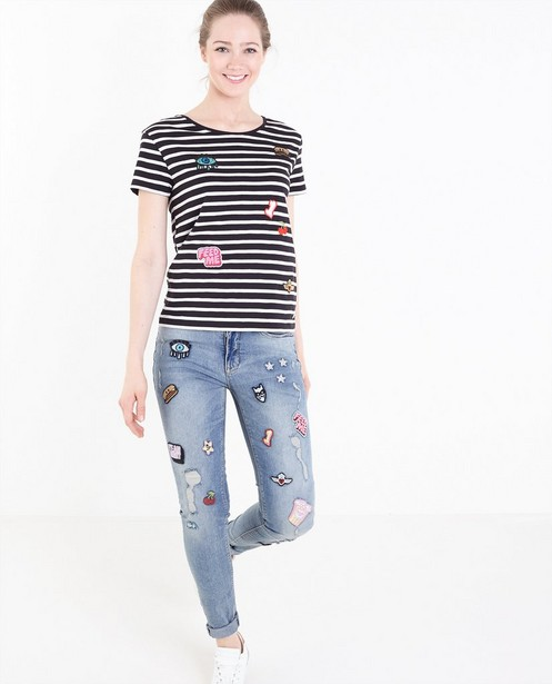 T-shirts - ZWM - Gestreept T-shirt met patches
