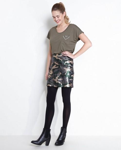 Rok in camouflage van pailletten - hier komt de subtitle BE - Sora