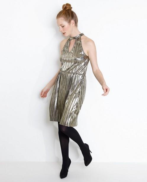 Kleedjes - GLD - Metallic plissé jurk