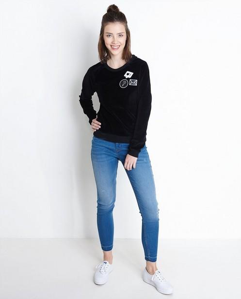 Zwarte fluwelen sweater met patches - null - Groggy
