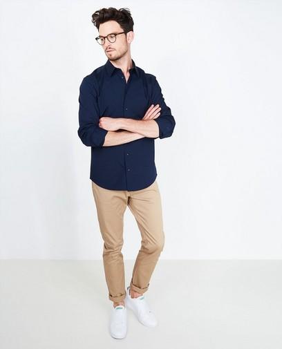 Marineblauw effen hemd