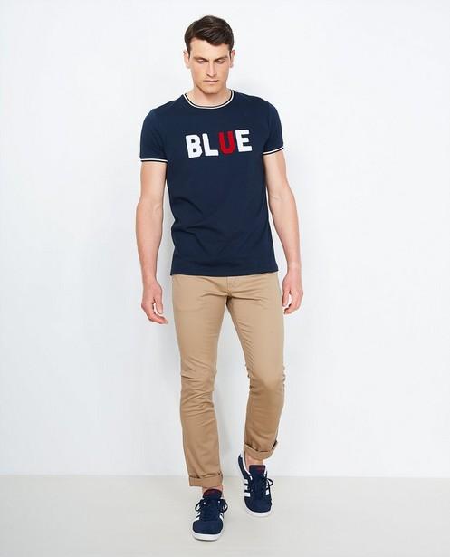 Diepblauwe katoenen broek - slim fit - Iveo