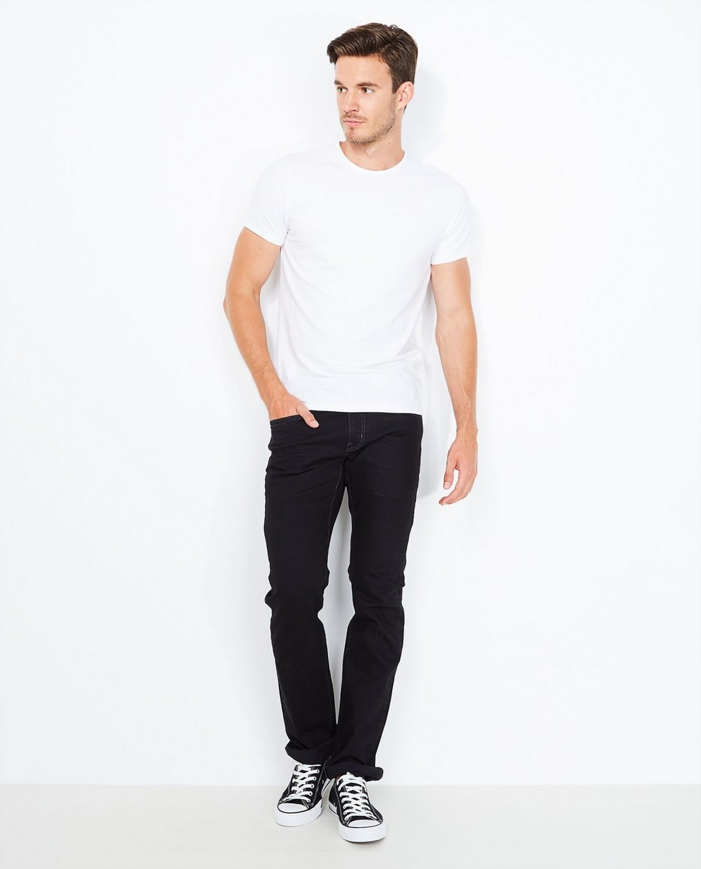 Jeans noir en coton bio - fitted straight - Tim Moore