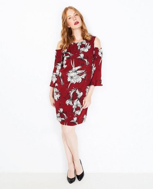 90fe9595b9402f Jurk met bold print - in bordeauxrood - JBC. Kleedjes - ASM - Bordeauxrode  jurk met cutouts