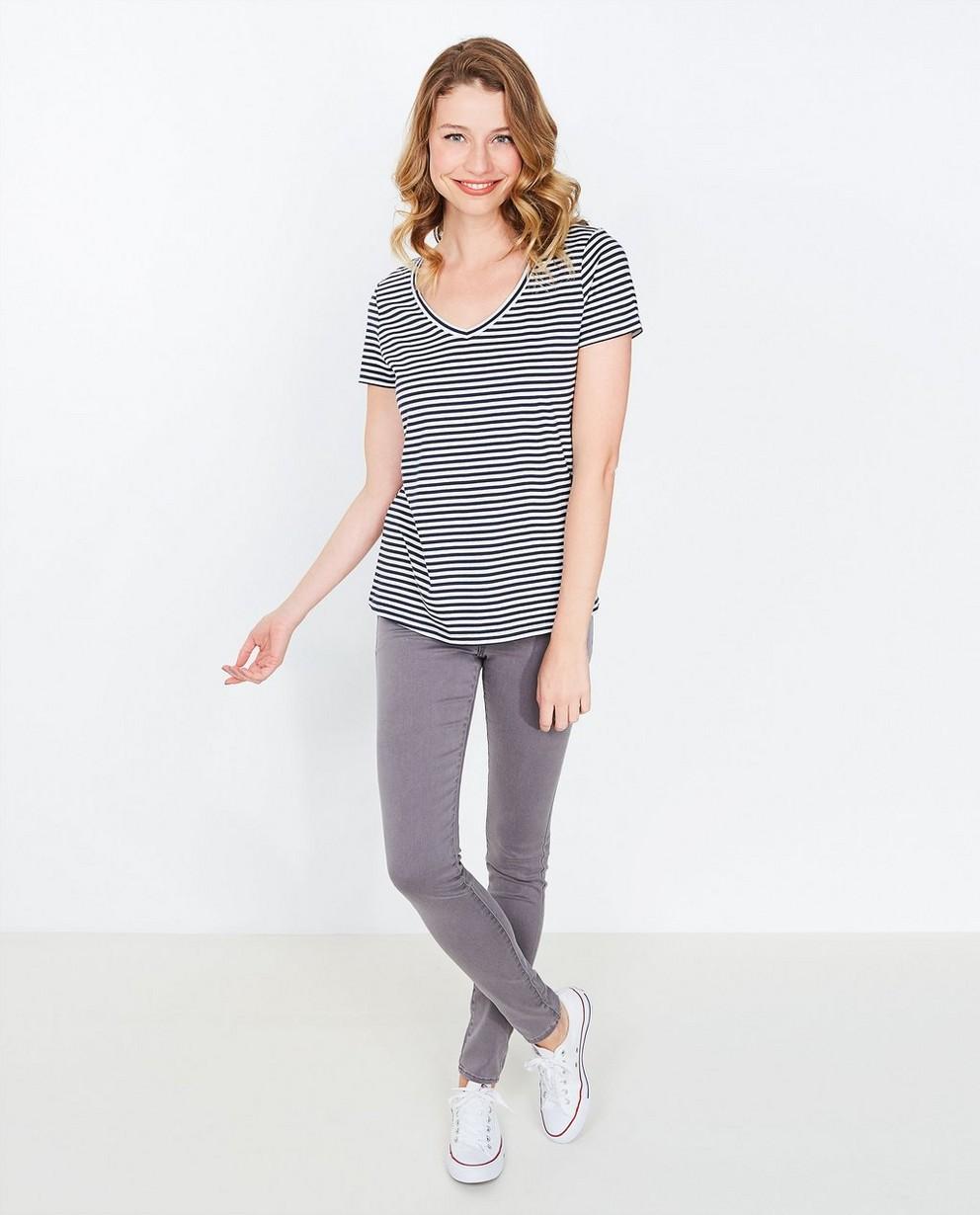 Gestreept T-shirt - in donkerblauw-wit - JBC