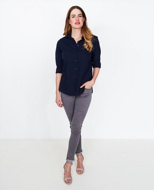 Nachtblauw basic hemd - van katoen - JBC