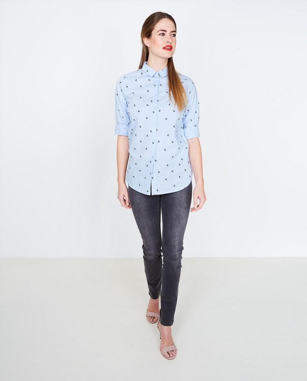 Hemelsblauw hemd - met allover vogelprint - JBC