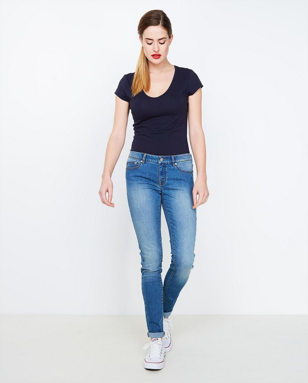 Jeans skinny bleu - délavé - JBC