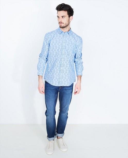 Lichtblauw hemd - met tropische print - JBC