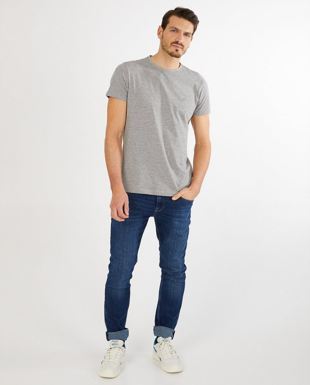 T-shirt bleu foncé en coton bio - col rond - JBC