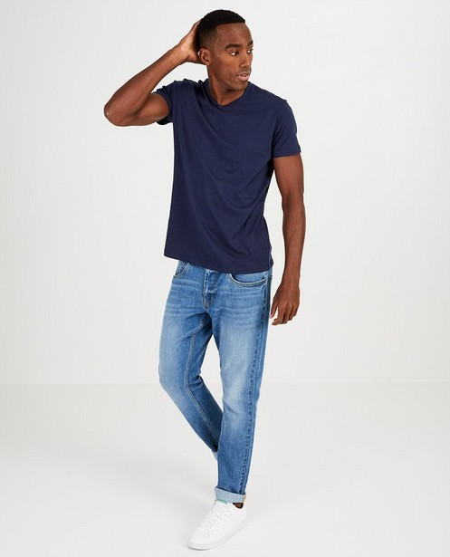 Donkerblauw T-shirt van biokatoen V-hals - basic - JBC