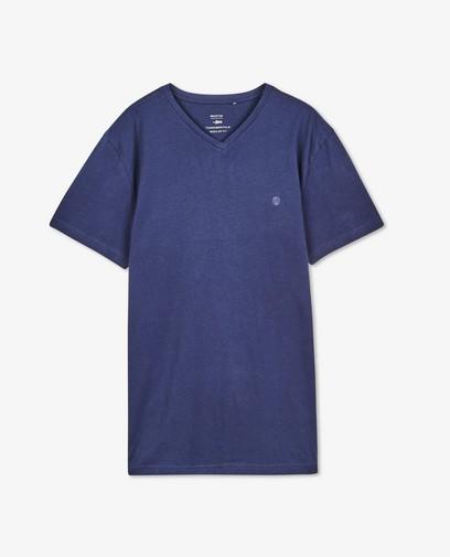 T-shirt bleu foncé en coton bio, col en V
