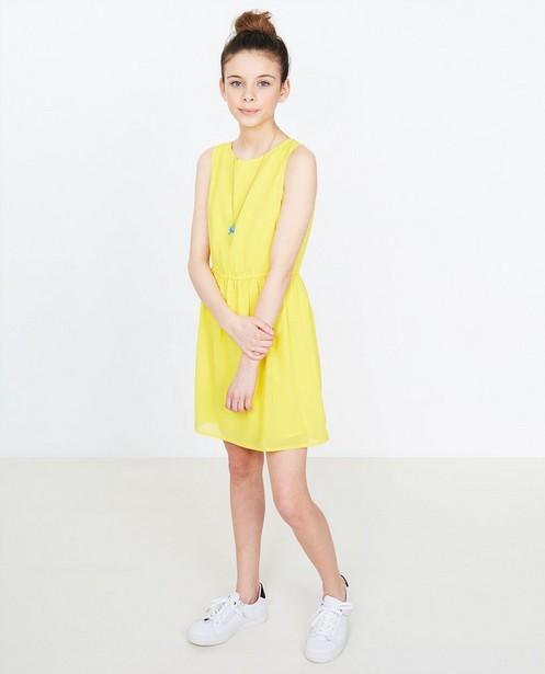 4cf7b905d20f27 Crêpe jurk - in kanariegeel - JBC NL