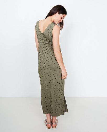 Kaki maxi-jurk
