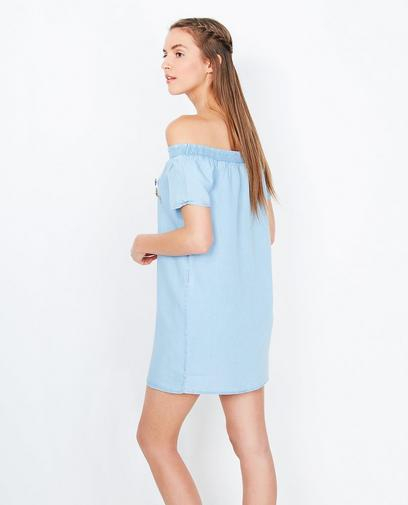 Lichtblauwe lyocell jurk