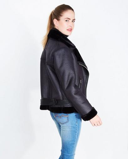 Zwarte imitatieleren jas