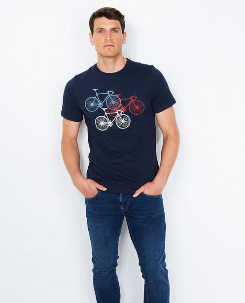 Nachtblauw T-shirt - met fietsenprint - JBC