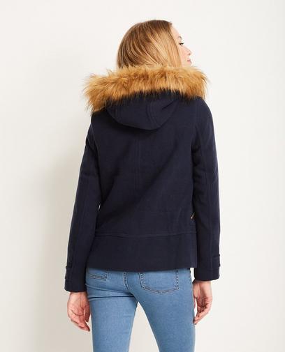 Mantel met faux fur kap