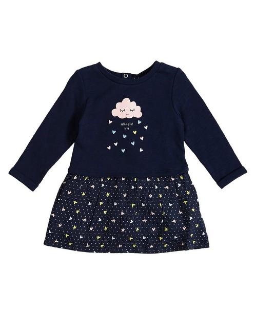Nachtblauwe jurk - met tweedelige look - JBC
