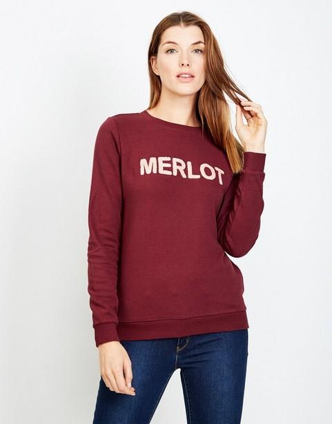 f7d8a41b8a5d40 Sweater met opschrift Merlot, in bordeauxrood JBC   JBC België