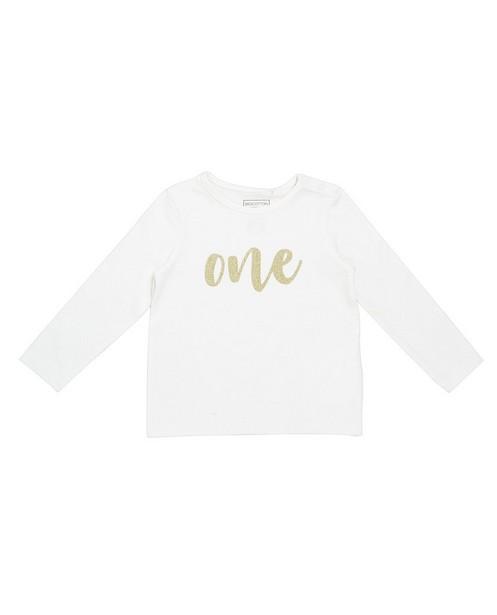T-shirt à manches longues - crème, inscription - JBC