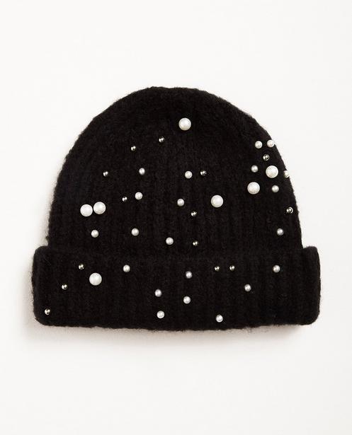Bonnet noir - avec des perles - Pieces