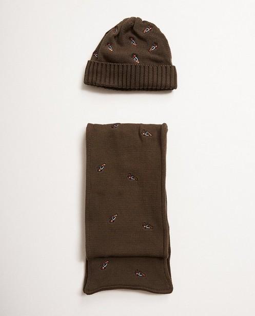 Set van sjaal en muts - in kaki, 6-10 jaar - JBC NL