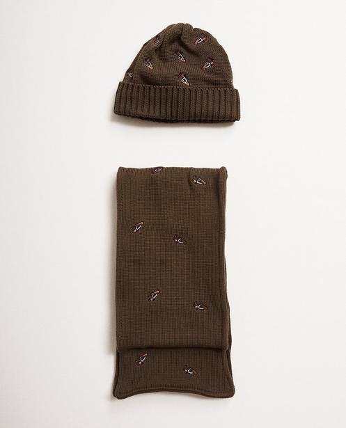 Écharpe et bonnet - gris clair, 6-10 ans - JBC