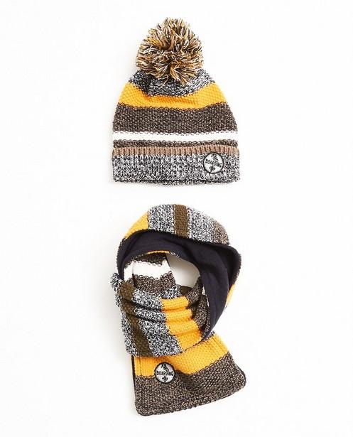 Écharpe et bonnet, 7-14 - avec rayures et pompons - JBC