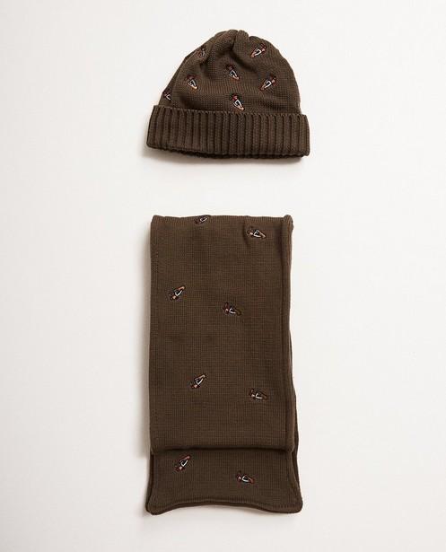 Set aus Schal und Mütze - in Khaki, 10-16 Jahre - JBC