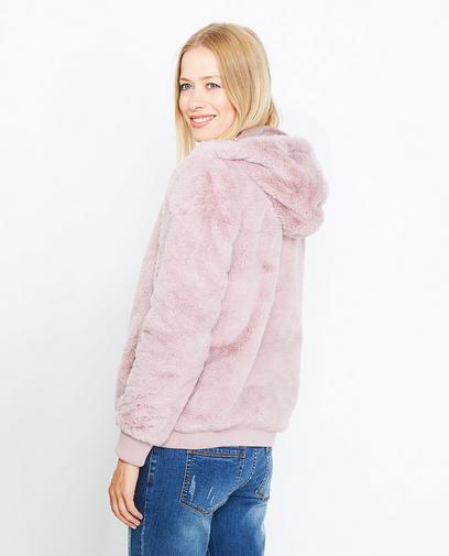 Roze faux fur jas