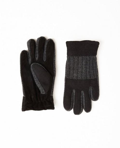 Gants noirs et gris - en cuir et laine - JBC