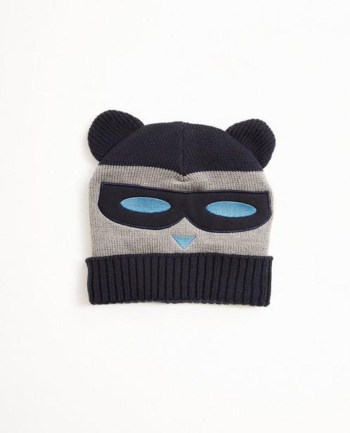 Bonnet ours - gris et bleu foncé - JBC