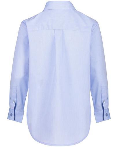 Blauw geborduurd hemd