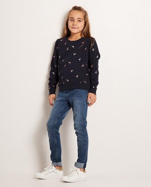 Sweater met metallic print - in nachtblauw, BESTies - Besties