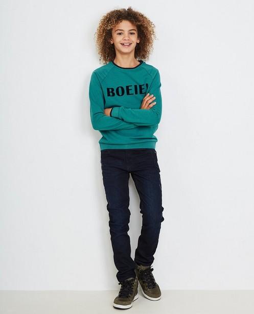 Turkooisblauwe sweater - met opschrift, Karen Damen - Karen Damen