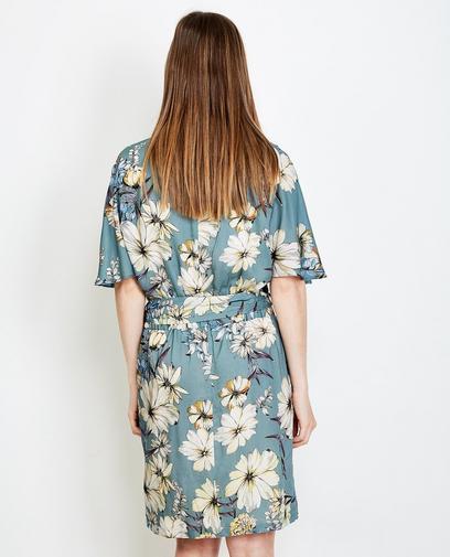 Blauwgrijze viscose jurk