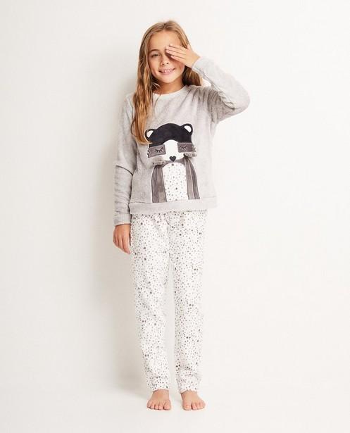 Fleece pyjama, 7-14 jaar - met wasbeerprint - JBC