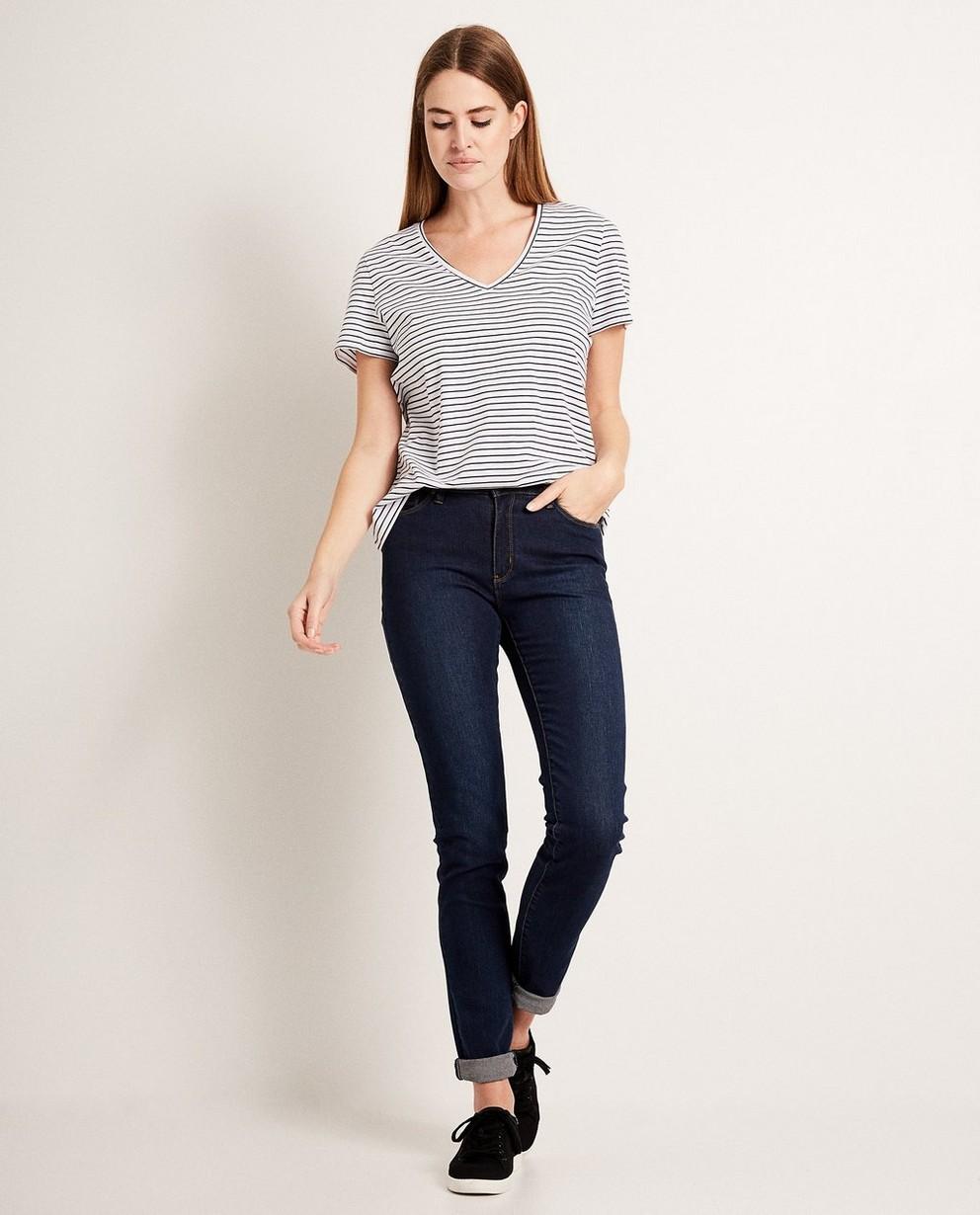 T-shirt rayé, col en V - en coton - JBC