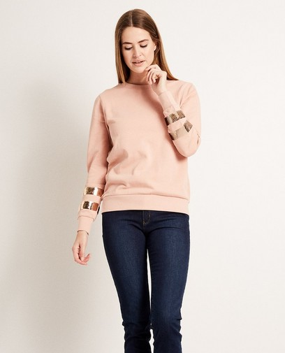 Sweater met paillettenstroken