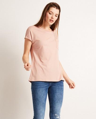 T-shirt met kanten borstzak