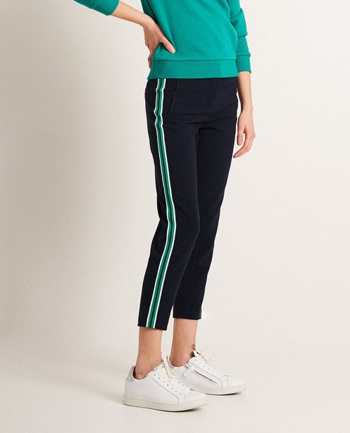 Pantalons - navy - Pantalon, bande sportive