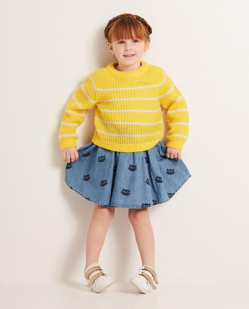 Gelbe Gestreifter Pullover - im Ajourmuster - JBC