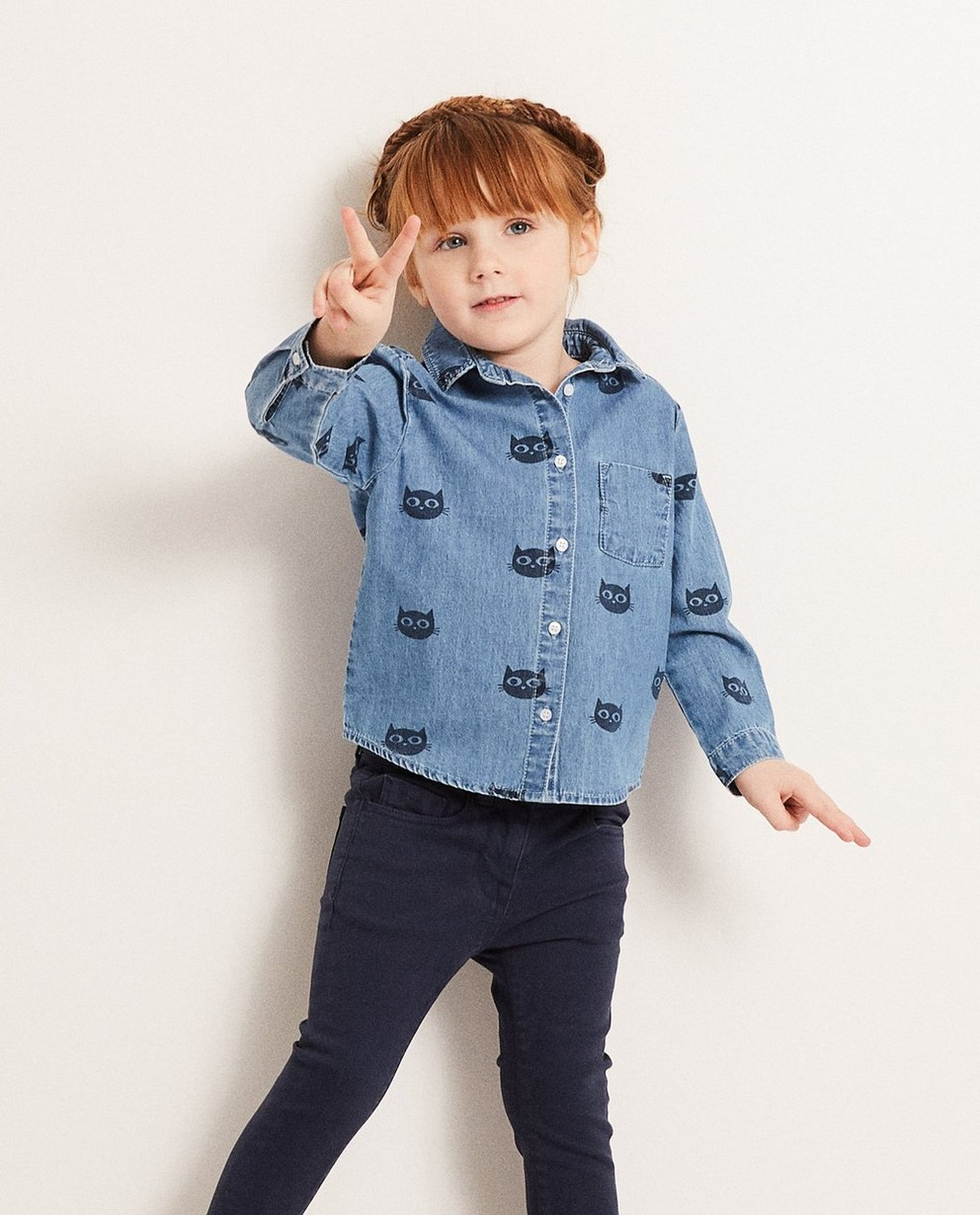 Hemden - AO1 - Jeanshemd mit Katzenprint