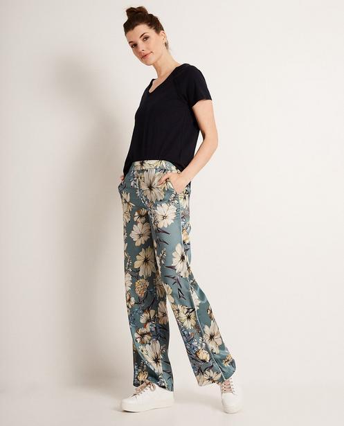 Pantalon palazzo - imprimé fleuri+biais blancs - JBC