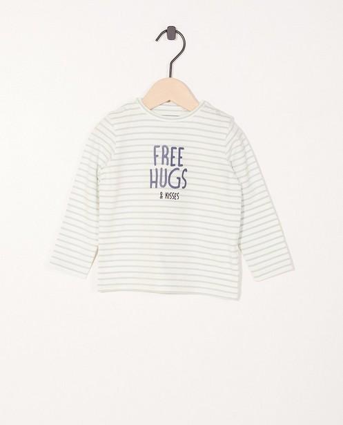 T-shirt à manches longues - rayé, inscription, coton bio - Newborn