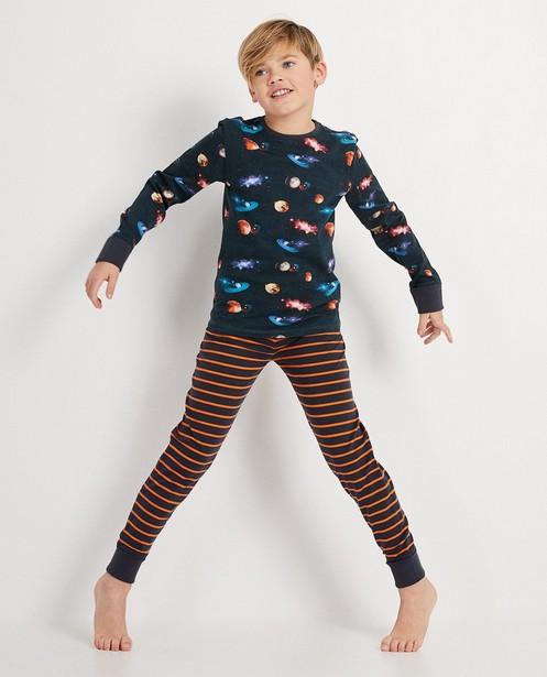 Mitwachsschlafanzug mit durchgehendem Print - Planeten und Streifen - JBC