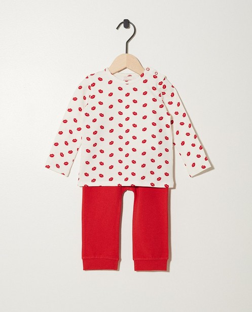 Pyjama rouge-blanc en coton bio - imprimé de lèvres - JBC