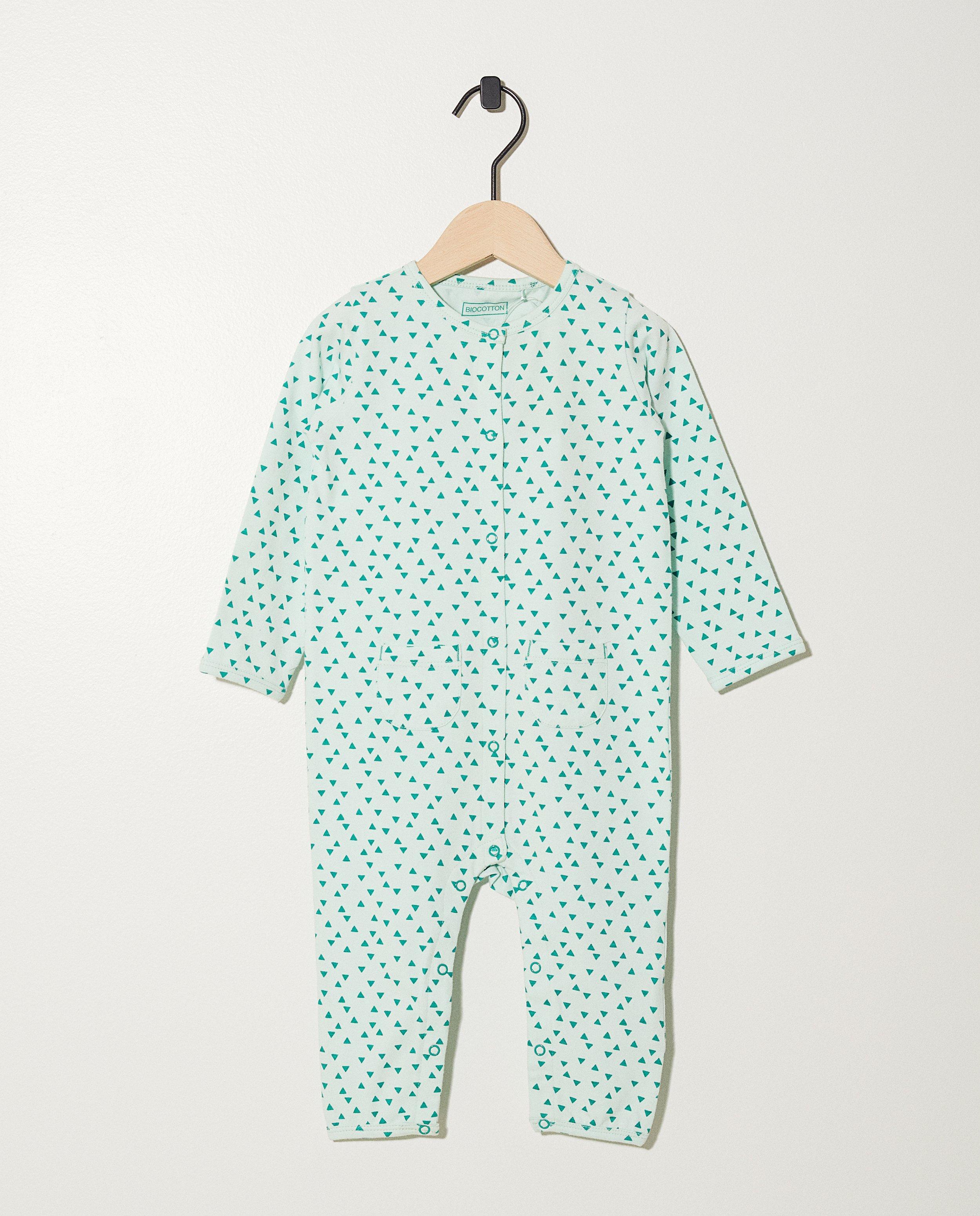 8d4ade0258421 Pyjama vert pâle en coton bio imprimé intégral